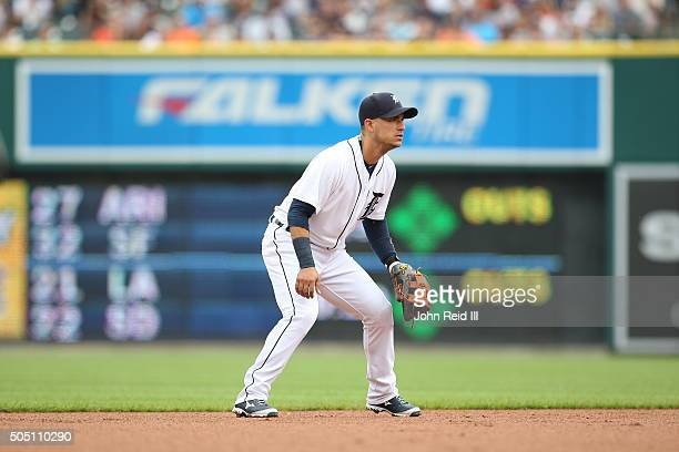 Jose Iglesias of the Detroit Tigers plays defense at shortstop during the game against the Cleveland Indians at Comerica Park on Saturday June 13...