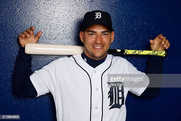 Jose Iglesias of the Detroit Tigers poses during photo day at Joker Marchant Stadium on February 27 2016 in Lakeland Florida