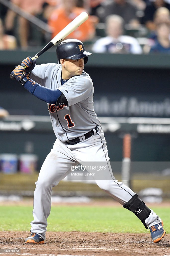 Jose Iglesias #1 of the Detroit Tigers prepares for a pitch during a baseball game against the Baltimore Orioles at Oriole Park at Camden Yards on July 30, 2015 in Baltimore, Maryland. The Tigers won 9-8.