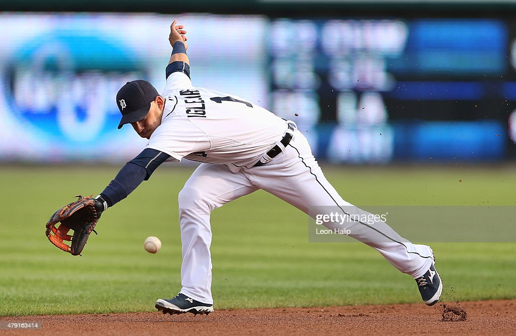 Jose Iglesias #1 of the Detroit Tigers reaches for the ground ball off the bat of Starling Marte of the Pittsburgh Pirates in the first inning of the interleague game on July 1, 2015 at Comerica Park in Detroit, Michigan.