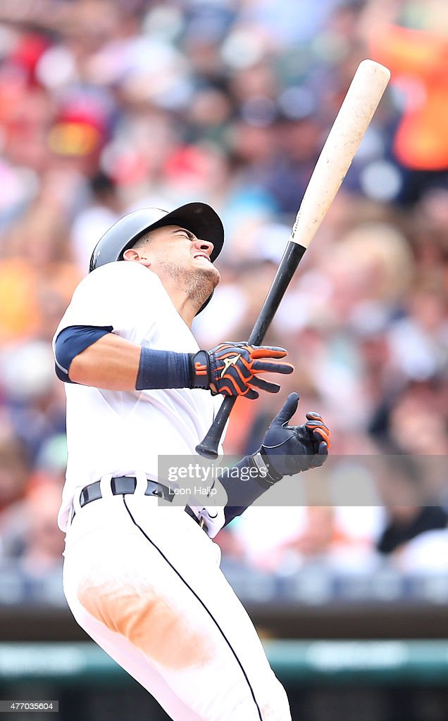 Jose Iglesias #1 of the Detroit Tigers reacts after getting hit by a pitch during the fourth inning of the game against the Cleveland Indians on June 13, 2015 at Comerica Park in Detroit, Michigan.