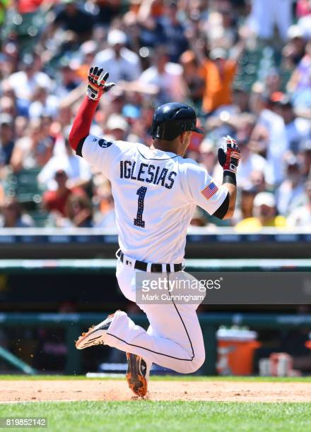 Jose Iglesias of the Detroit Tigers runs the bases during the game against the Cleveland Indians at Comerica Park on July 2 2017 in Detroit Michigan...