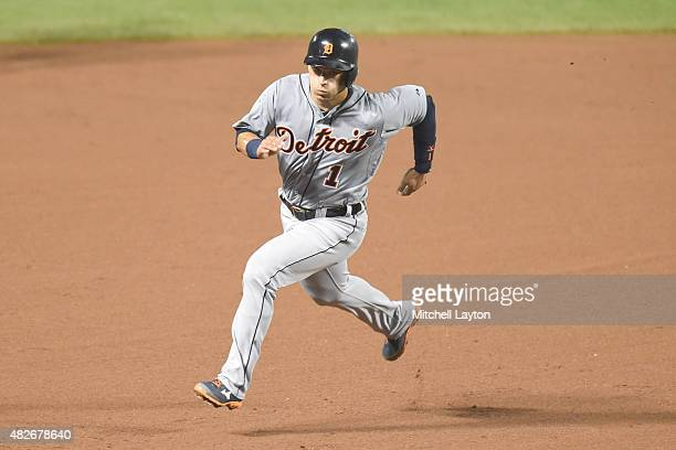 Jose Iglesias of the Detroit Tigers runs to third base during a baseball game against the Baltimore Orioles at Oriole Park at Camden Yards on July 30...