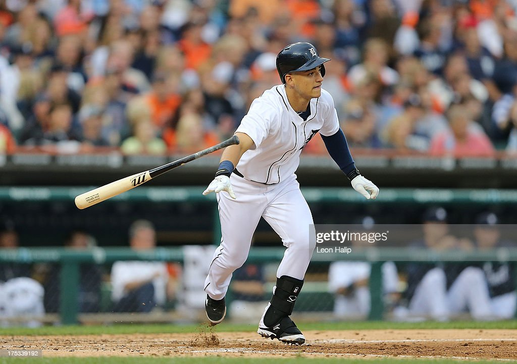 Jose Iglesias #1 of the Detroit Tigers singles to right field for his first hit and RBI scoring teammate Prince Fielder #28 during the fourth inning of the against the Chicago White Sox at Comerica Park on August 2, 2013 in Detroit, Michigan.