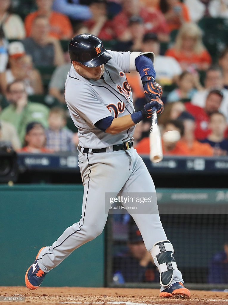Jose Iglesias #1 of the Detroit Tigers swings at a pitch during the third inning of their game against the Houston Astros at Minute Maid Park on April 17, 2016 in Houston, Texas.