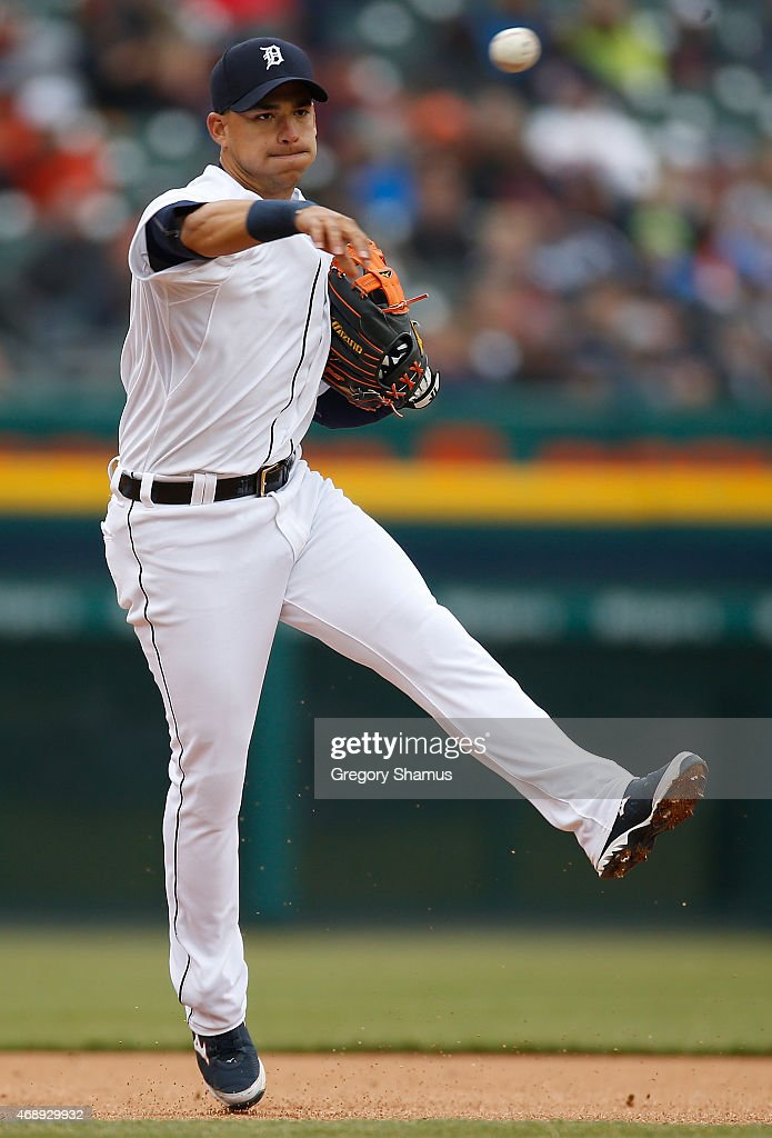 Jose Iglesias #1 of the Detroit Tigers throws out a runner at first base during the seventh inning while playing the Minnesota Twins at Comerica Park on April 8, 2015 in Detroit, Michigan. Detroit won the game 11-0.