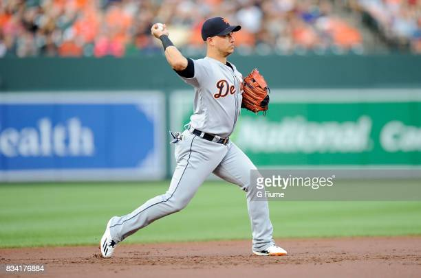 Jose Iglesias of the Detroit Tigers throws the ball to first base against the Baltimore Orioles at Oriole Park at Camden Yards on August 5 2017 in...