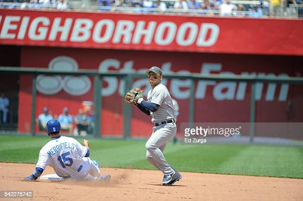 Jose Iglesias of the Detroit Tigers throws to first to complete a double play against the Kansas City Royals at Kauffman Stadium on June 19 2016 in...