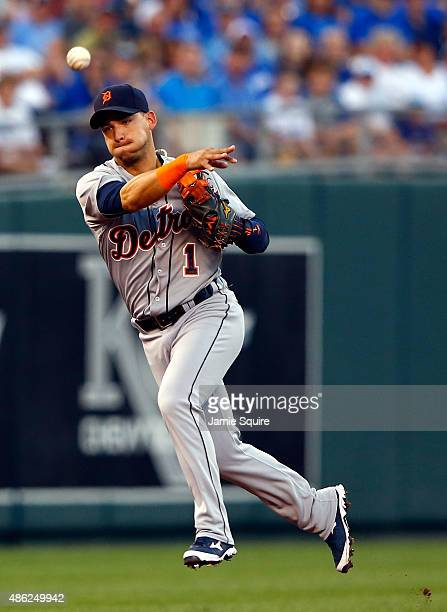 Jose Iglesias of the Detroit Tigers throws toward first base during the 1st inning of the game against the Kansas City Royals at Kauffman Stadium on...