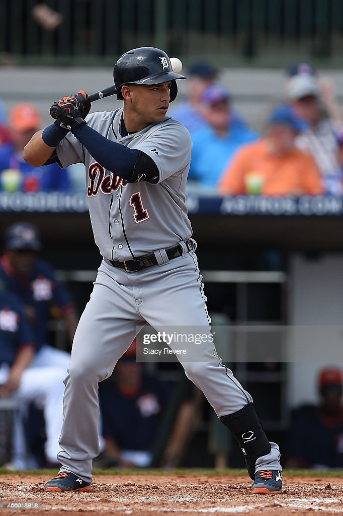 Jose Iglesias #1 of the Detroit Tigers waits for a pitch during a spring training game against the Houston Astros at Osceola County Stadium on March 12, 2015 in Kissimmee, Florida.