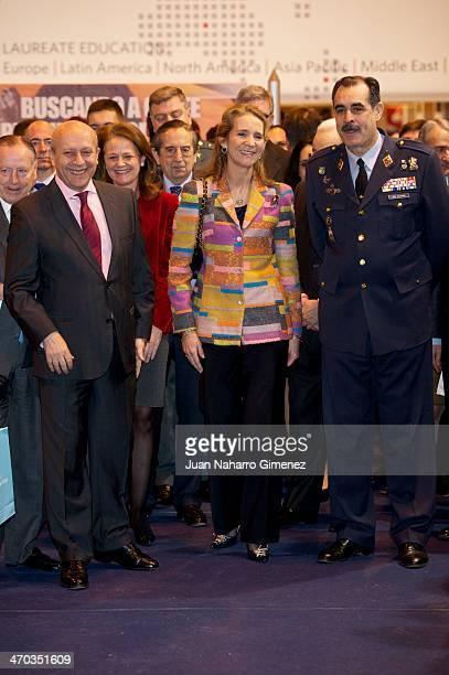 Jose Ignacio Wert and Princess Elena of Spain attend 'AULA Fair' at Ifema on February 19 2014 in Madrid Spain