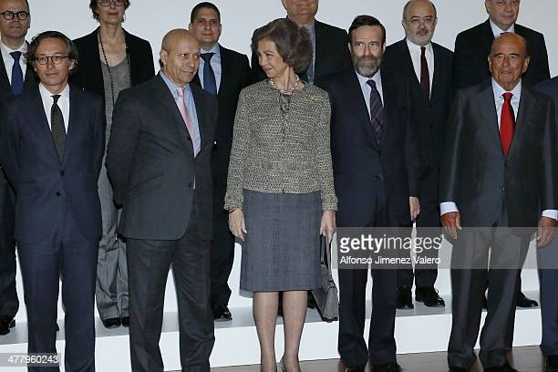 Jose Ignacio Wert and Queen Sofia of Spain Visits Reina Sofia Museum on March 11 2014 in Madrid Spain