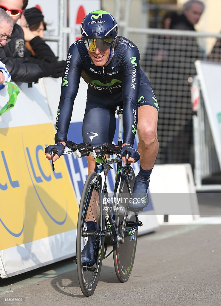 Jose Ivan Gutierrez of Spain and Team Movistar rides during the prologue of 2.9 km of the 2013 Paris-Nice on March 3, 2013 in Houilles, Yvelines, France.