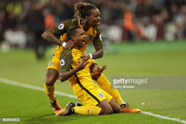 Jose Izquierdo of Brighton and Hove Albion celebrates as he scores their second goal with Gaetan Bong during the Premier League match between West...
