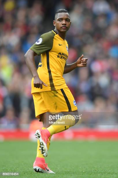 Jose Izquierdo of Brighton in action during the Premier League match between Arsenal and Brighton and Hove Albion at Emirates Stadium on October 1...