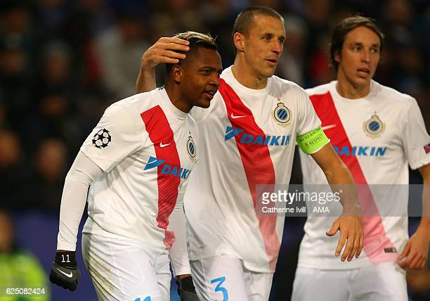 Jose Izquierdo of Club Brugge celebrates after he scores a goal to make it 21 during the UEFA Champions League match between Leicester City FC and...