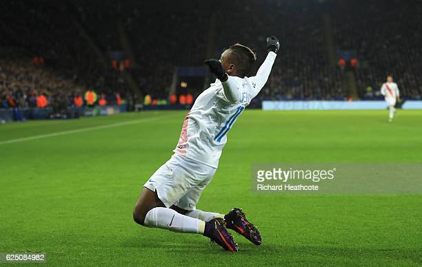 Jose Izquierdo of Club Brugge celebrates scoring his sides first goal during the UEFA Champions League match between Leicester City FC and Club...
