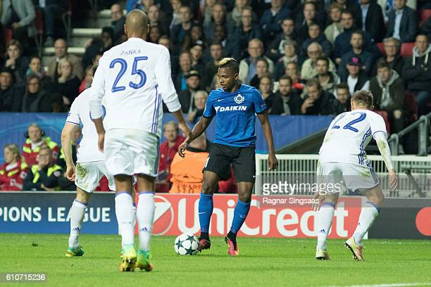 Jose Izquierdo of Club Brugge KV controls the ball during the UEFA Champions League match between FC Copenhagen and Club Brugge KV at Parken Stadium...