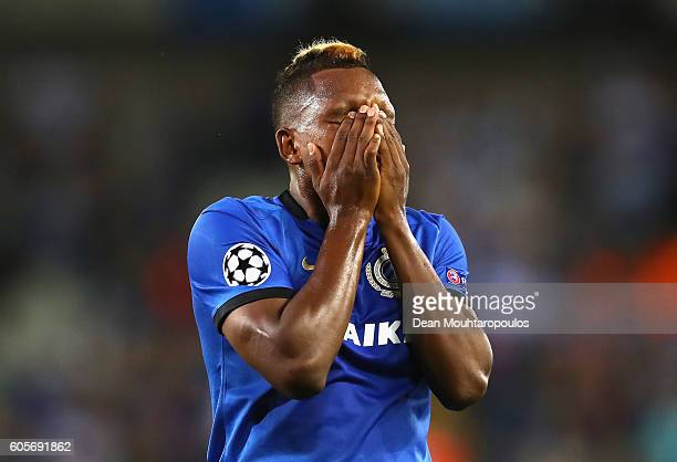 Jose Izquierdo of Club Brugge reacts after a missed chance during the UEFA Champions League match between Club Brugge KV and Leicester City FC at Jan...
