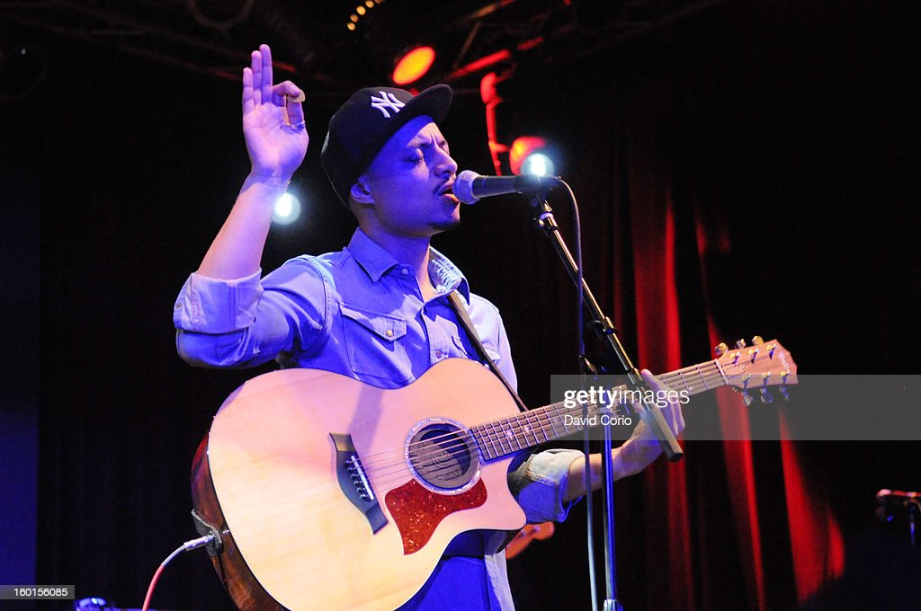 Jose James performs on stage at the Highline Ballroom, New York on 23rd January 2013.
