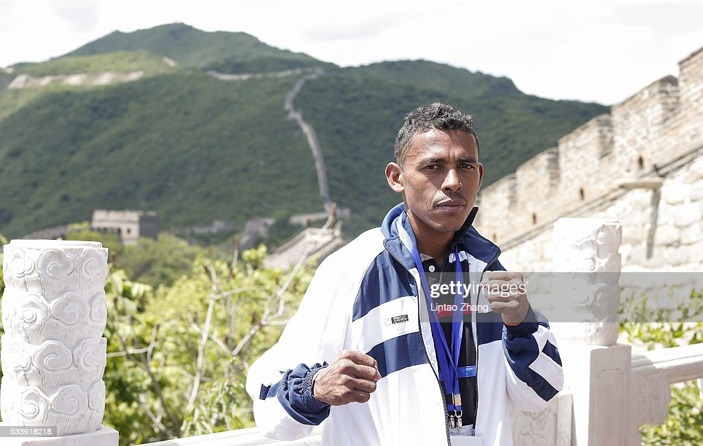 Jose Jimenez of Colombia poses on the Great Wall during the Weigh-in of IBF World Boxing Championship Bout at Mutianyu on May 24, 2016 in Beijing, China.