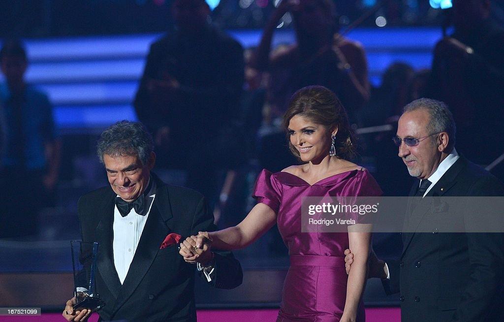 Jose Jose, Ana Barbara and Emilio Estefan on stage at Billboard Latin Music Awards 2013 at Bank United Center on April 25, 2013 in Miami, Florida.