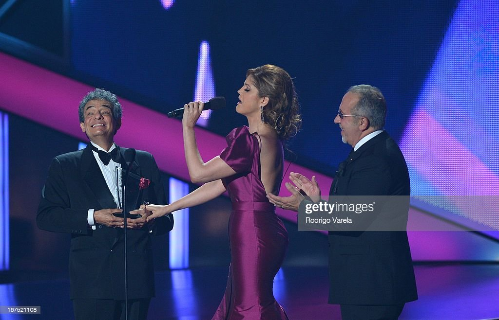 Jose Jose, Ana Barbara and Emilio Estefan on stage at Billboard Latin Music Awards 2013 at Bank United Center on April 25, 2013 in Miami, Florida.