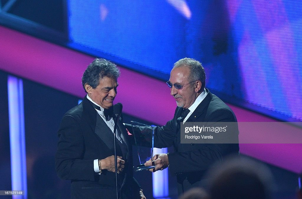 Jose Jose and Emilio Estefan on stage at Billboard Latin Music Awards 2013 at Bank United Center on April 25 2013 in Miami Florida