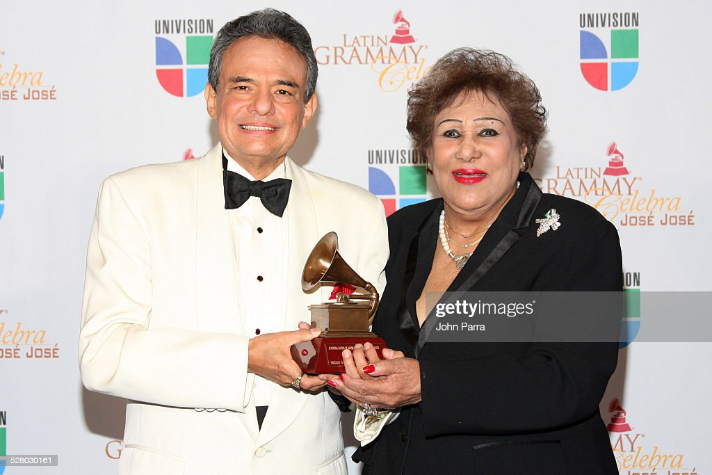 Jose Jose and Olga Guillot pose on the red carpet at Univision and the Latin Recording Academy Honor Jose Jose at Bank United Center on July 24 2008...