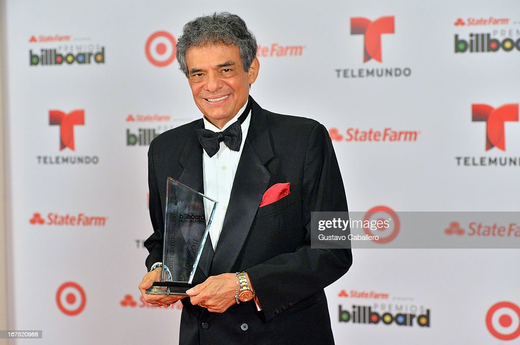Jose Jose poses backstage at Billboard Latin Music Awards 2013 at Bank United Center on April 25 2013 in Miami Florida