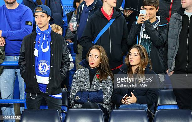 Jose Jr Matilde Faria and Matilde the son wife and daughter of Jose Mourinho Manager of Chelsea attend the match during the UEFA Champions League...
