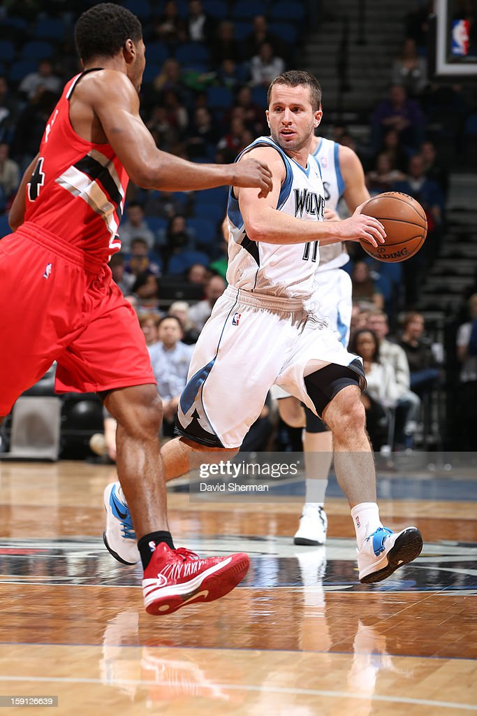 Jose Juan Barea #11 of the Minnesota Timberwolves brings the ball up court against the Portland Trail Blazers on January 5, 2013 at Target Center in Minneapolis, Minnesota.