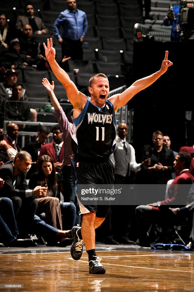 Jose Juan Barea #11 of the Minnesota Timberwolves celebrates while playing the Brooklyn Nets on November 5, 2012 at the Barclays Center in Brooklyn, New York.