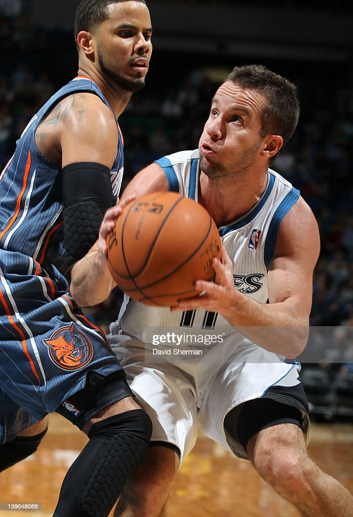 Jose Juan Barea #11 of the Minnesota Timberwolves drives to the basket against <a gi-track='captionPersonalityLinkClicked' href=/galleries/search?phrase=D.J.+Augustin&family=editorial&specificpeople=3847521 ng-click='$event.stopPropagation()'>D.J. Augustin</a> #14 of the Charlotte Bobcats during the game on February 15, 2012 at Target Center in Minneapolis, Minnesota.