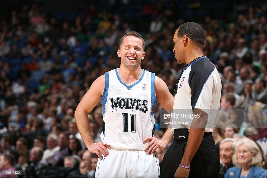 Jose Juan Barea #11 of the Minnesota Timberwolves lshares a laugh with a referee during the game between the Minnesota Timberwolves and the Denver Nuggets on November 21, 2012 at Target Center in Minneapolis, Minnesota.
