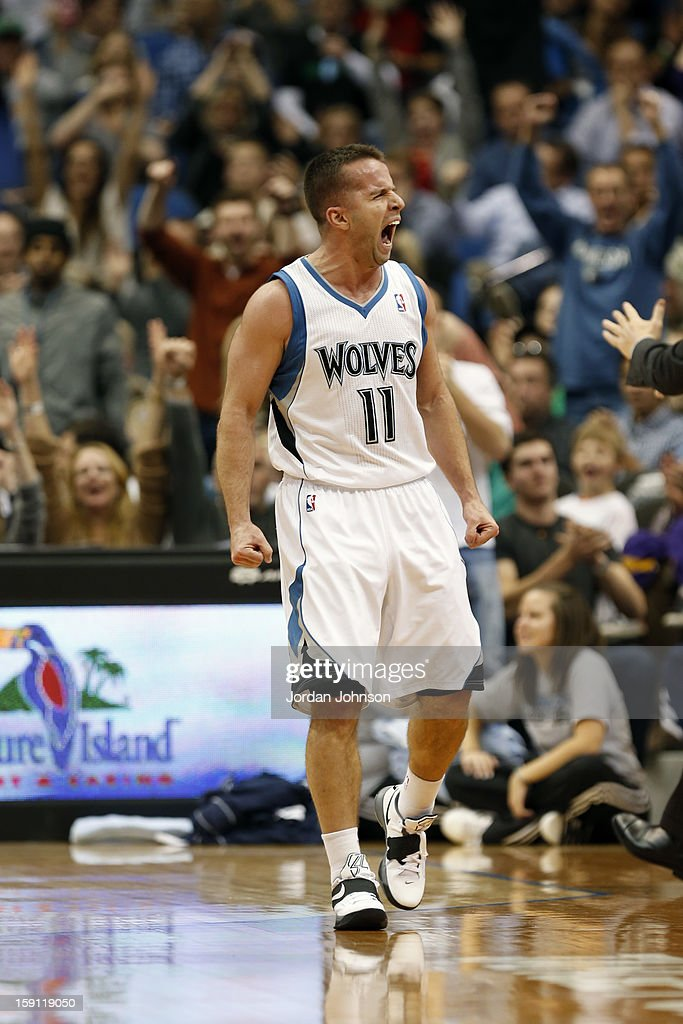 Jose Juan Barea #11 of the Minnesota Timberwolves shows emotion during the game against the Denver Nuggets on November 21, 2012 at Target Center in Minneapolis, Minnesota.