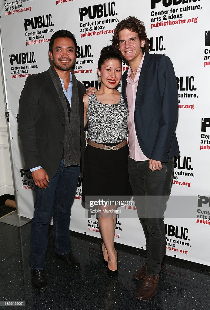 Jose Llana, Ruthie Ann Miles and Alex TImbers attend the opening night celebration of 'Fun Home' at The Public Theater on October 22, 2013 in New York City.