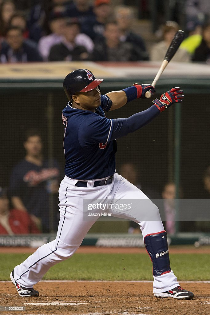 <a gi-track='captionPersonalityLinkClicked' href=/galleries/search?phrase=Jose+Lopez&family=editorial&specificpeople=239051 ng-click='$event.stopPropagation()'>Jose Lopez</a> #4 of the Cleveland Indians hits an RBI double to deep right during the sixth inning against the Detroit Tigers at Progressive Field on May 22, 2012 in Cleveland, Ohio.