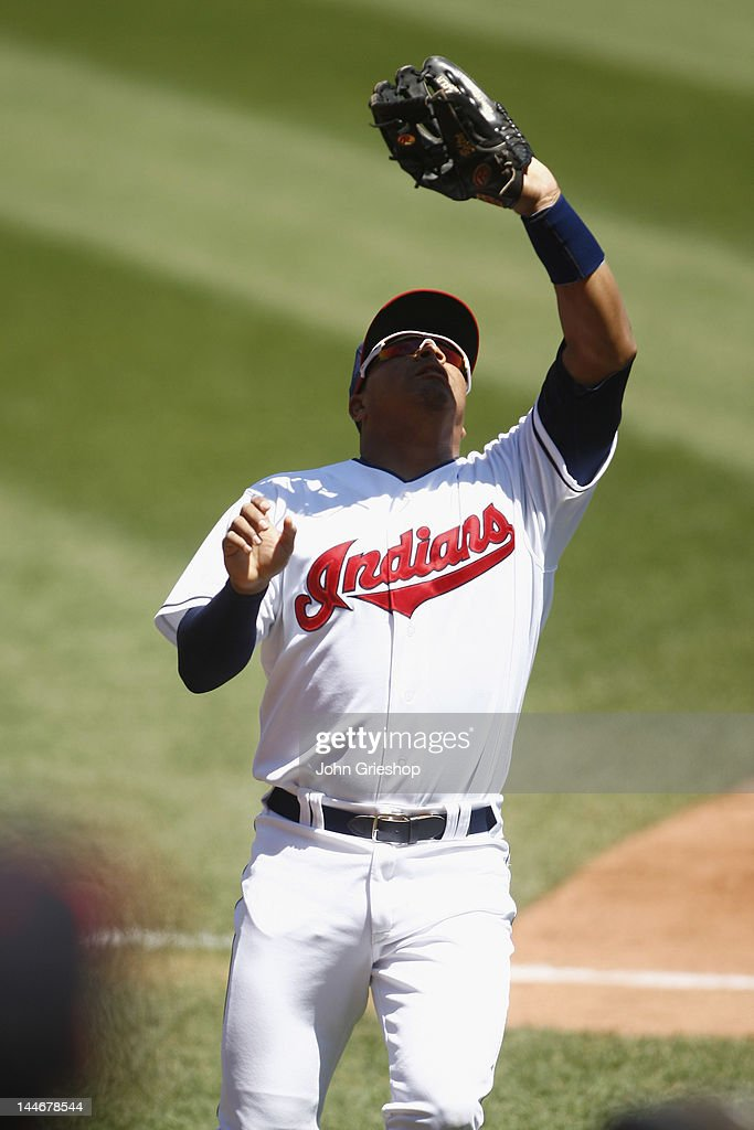 <a gi-track='captionPersonalityLinkClicked' href=/galleries/search?phrase=Jose+Lopez&family=editorial&specificpeople=239051 ng-click='$event.stopPropagation()'>Jose Lopez</a> #4 of the Cleveland Indians makes the catch behind third base during the game against the Seattle Mariners at Progressive Field on May 17, 2012 in Cleveland, Ohio.