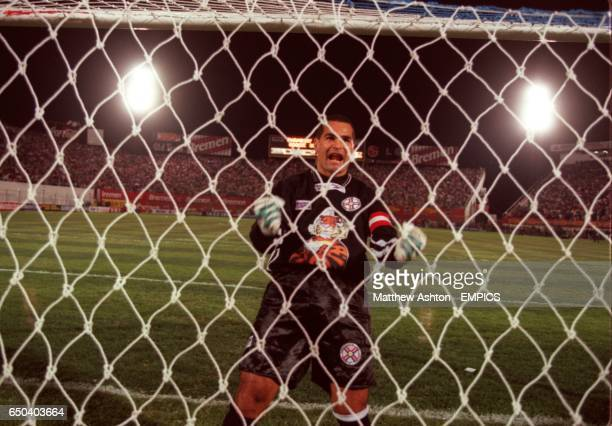 Jose Luis Chilavert of Paraguay celebrates a goal