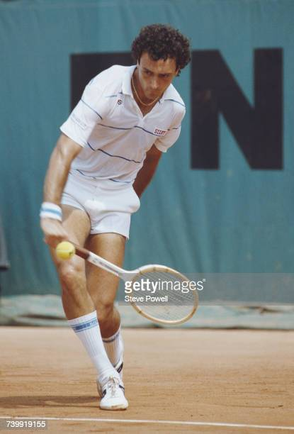 Jose Luis Clerc of Argentina makes a backhand return against Mats Wilander of Sweden during their Men's Singles Semi Final match at the French Open...