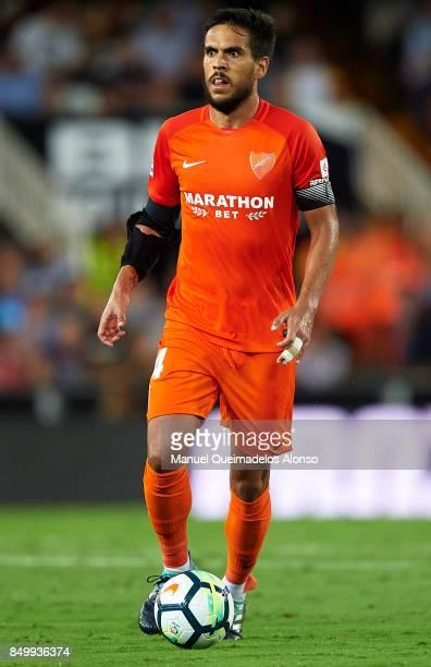 Jose Luis Garcia Recio of Malaga in action during the La Liga match between Valencia and Malaga at Estadio Mestalla on September 19 2017 in Valencia...