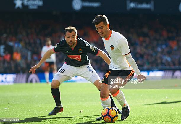 Jose Luis Gaya of Valencia CF and Javi Fuego of RCD Espanyol during the La Liga match between Valencia CF vs RCD Espanyol at Mestalla Stadium on...