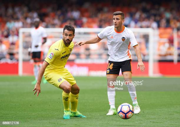 Jose Luis Gaya of Valencia CF and Mario Gaspar of Villarreal CF during their La Liga match between Valencia CF and Villarreal CF at the Mestalla...