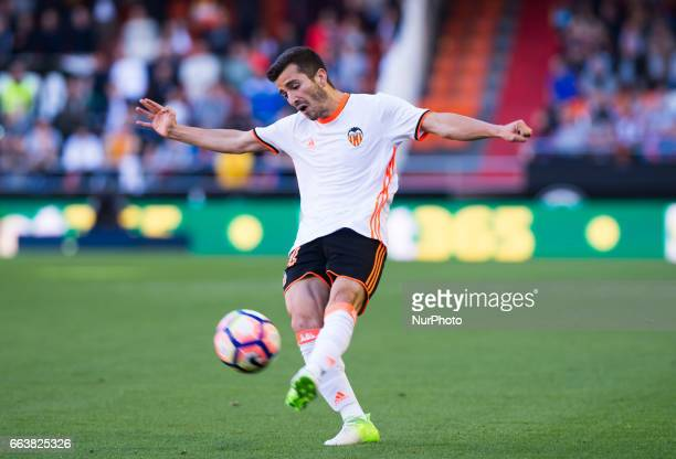 Jose Luis Gaya of Valencia CF during their La Liga match between Valencia CF and Deportivo de la Corua at the Mestalla Stadium on 2 April 2017 in...