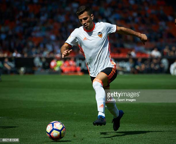 Jose Luis Gaya of Valencia in action during the La Liga match between Valencia CF and Real Sporting de Gijon at Mestalla Stadium on March 11 2017 in...