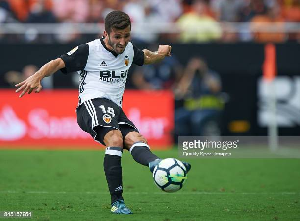Jose Luis Gaya of Valencia in action during the La Liga match between Valencia and Atletico Madrid at on September 9 2017 in Valencia