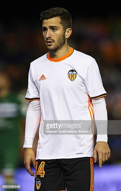 Jose Luis Gaya of Valencia looks on during the Copa del Rey Round of 16 match between Valencia CF and CD Leganes at Estadio Mestalla on December 21...