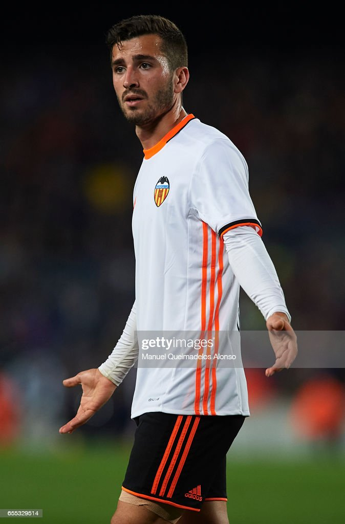 Jose Luis Gaya of Valencia reacts during the La Liga match between FC Barcelona and Valencia CF at Camp Nou Stadium on March 19, 2017 in Barcelona, Spain.