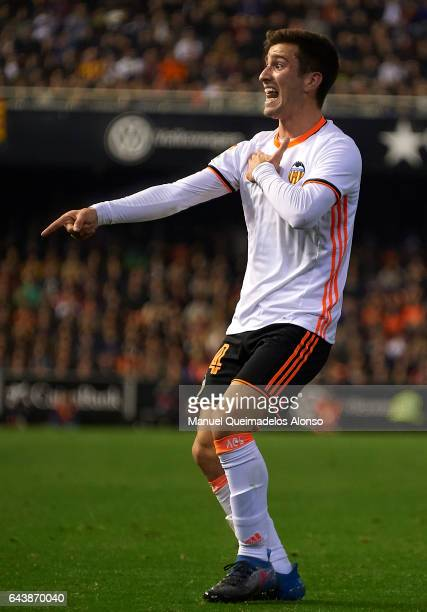 Jose Luis Gaya of Valencia reacts during the La Liga match between Valencia CF and Real Madrid at Mestalla Stadium on February 22 2017 in Valencia...